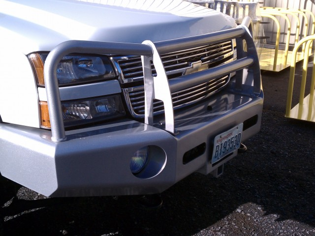 Bumper with Brushguard - Metallic Silver and Clear Coat